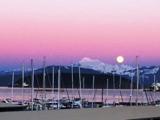 Moonrise on Mount Baker